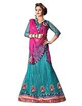 7 Colors Lifestyle Turquoise Coloured Net Embroidered Semi-Stitched Lehenga Choli