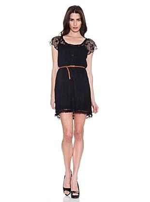 Santa Bárbara Vestido Con Encaje (Negro)