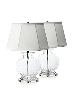Lamp Works Set of 2 Oval Serrated Glass Urn Table Lamps