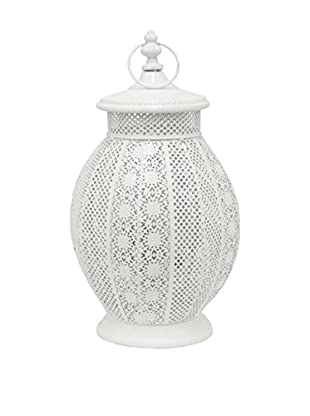 Three Hands Curved Metal Lantern, White