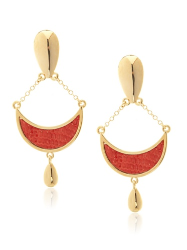 Kara Ross Coral Gold Water Snake Crescent Earrings with Pear Drop