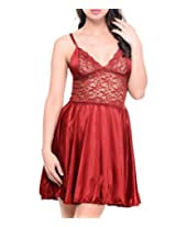 Klamotten Women's Satin Babydoll Dress with Lacework(YY07_Red_Free Size)