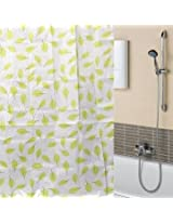 170x180cm Green Leaf Waterproof Bathroom Polyester Fibre Shower Curtain
