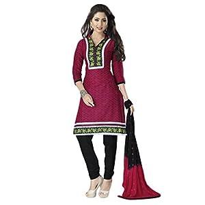 Salwar Studio Womens Unstitched Salwar Suit Dress Material (Ko-4609 _Black & Maroon _Free Size)