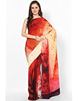 Crepe Red Printed Saree Satya Paul