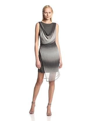 TWO by Ronen Chen Women's Dandy Draped Sleeveless Dress (Grey Print)