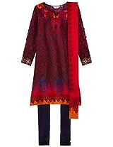 Biba Women's Polyester A-Line Salwar Suit