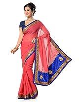 AISHA Printed Fashion Georgette Blue Sari
