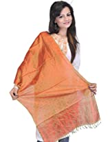 Exotic India Banarasi Handloom Scarf with All-Over Tanchoi Weave - Color Mustard GoldColor Free Size