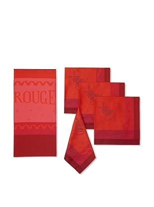 Garnier-Thiebaut 5-Piece Moulin Rouge 'Cancan' Table Linen Set, Strawberry Fizz, One Size