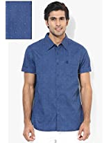 Blue Printed Regular Fit Casual Shirt Freecultr