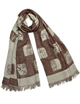 Chinese English Character Seal Stamps Cotton Long Scarf Shawl - Brown