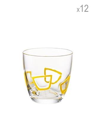 Guzzini Set 12 Bicchieri Acqua Mirage Giallo
