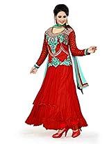 Nazaquat Elegant Red Anarkali Suit Salwar Kameez