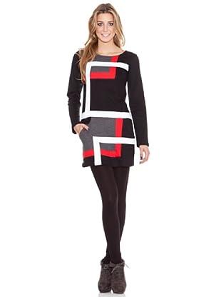 HHG Vestido Francesca (gris/rojo)