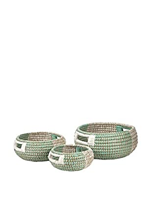 Set of 3 Round Harvey Two-Tone Woven Baskets