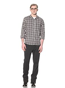 Steven Alan Men's Cropped Collar Button-Front Shirt (Black/White/Red Plaid)