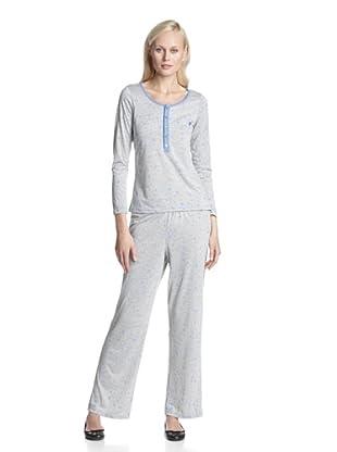BH PJ's by BedHead Pajamas Women's Placket Pajama Set (Blue Heather Stars)