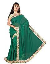 ISHIN Chiffon Green Solid Lace Saree With Printed Blouse