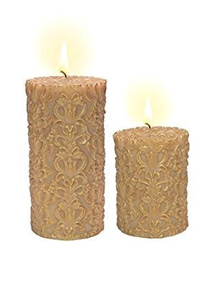 Volcanica Set of 2 Ivory & Gold Paramount Pillar Candles