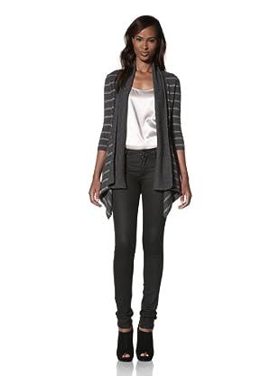 KOKUN Women's Striped Asymmetrical Cardigan (Charcoal/Dark Grey)