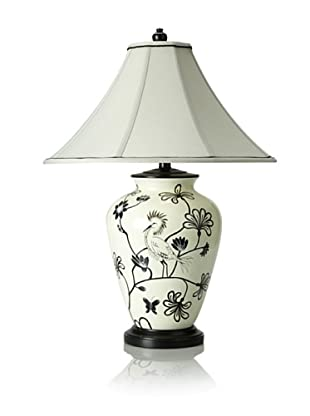 Bungalow 5 Hand-Painted Bird Porcelain Table Lamp (Black/Off-White)