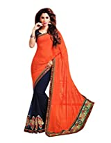 Gopalclothdesigner Art Silk Resham Saree (iwgy119a_Orange Dark Blue)