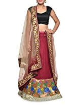 Wine red silk lehenga set
