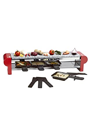 Nouvel 4er Raclette Stone Swiss Edition inox/rot