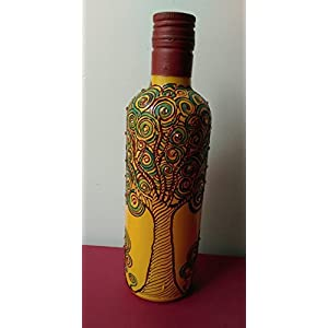 Artiliciously Your'S Tree Green Painting On Recycled Glass Bottle