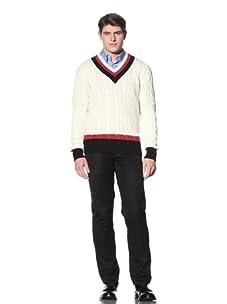 Cruciani Men's V-Neck Tennis Sweater (White/Red/Navy Blue)