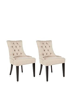 Safavieh Mercer Collection Heather Grey Linen Nailhead Dining Chair, Set of 2