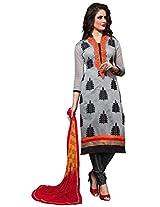 Viva N Diva Cream Color Chanderi Cotton Suit.