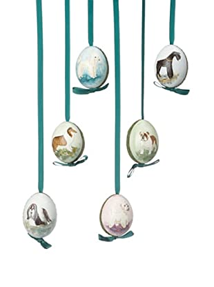Peter Priess Set of 6 Assorted Dog Easter Eggs, Blue/Brown