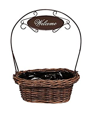 Skalny Welcome Orb Willow Basket, Silver/Brown