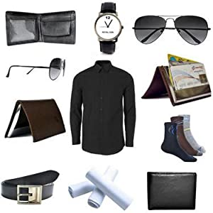 Combo of Gents Wallet + Pack Of Shirt + Aviator Sunglasses + Atm Card Holder + 3 Pair Of Socks + Watch + Belt + 3 Pcs Hanky