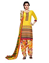 Inddus Women Yellow Embroidered Cotton Blend Dress Material
