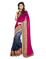 Kalista Faux Chanderi Saree in Grey Purple Colour for Party Wear