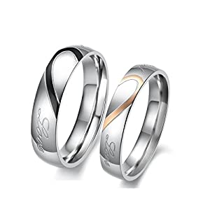 Asma Jewel House Love Heart Couple Ring - Silver