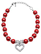 Mirage Pet Products 8 to 10-Inch Heart and Pearl Necklace, Medium, Red