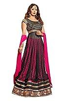 Vibes Women Georgette Salwar Suit Dress Material (V189-951 _Black _Free Size)