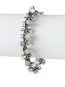 Tuleste Market Small Marbled Claw Bracelet, Antique Silver/Light Grey