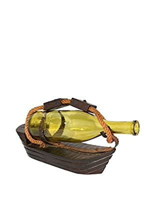 Uptown Down Previously Owned Boat-Shaped Carved Wood Wine Bottle Holder