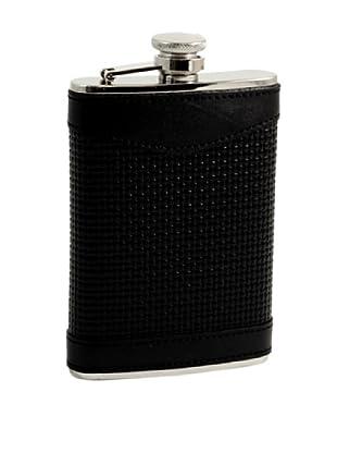 Bey-Berk Woven Leather Stainless Steel Flask, 8 Oz.