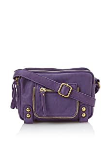 Linea Pelle Women's Dylan Amazing Triple Zip Shoulder Bag (Amethyst)