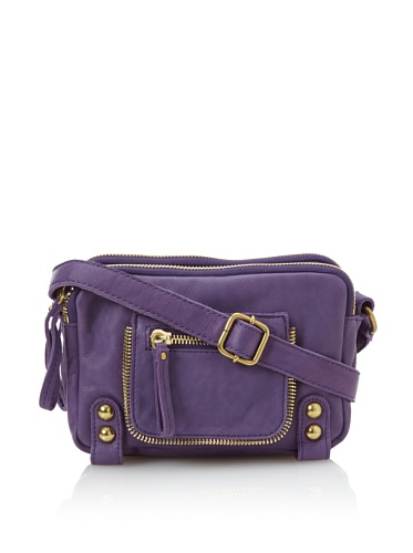 Linea Pelle Women's Dylan Amazing Triple Zip Shoulder Bag (Amethyst)