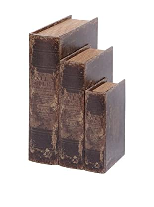Set of 3 Faux Leather Book Boxes, Black