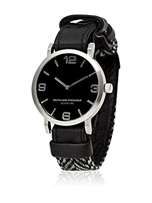 South Lane Reloj de cuarzo Unisex South Lane Signature Collaboration Black Leather and Herringbone wool 40 mm