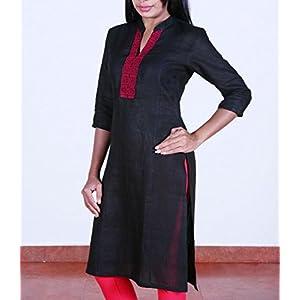 Black, linen, collared kurta.