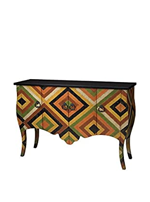 Artistic Geo Contemporary Print Chest, Red/Black/Yellow